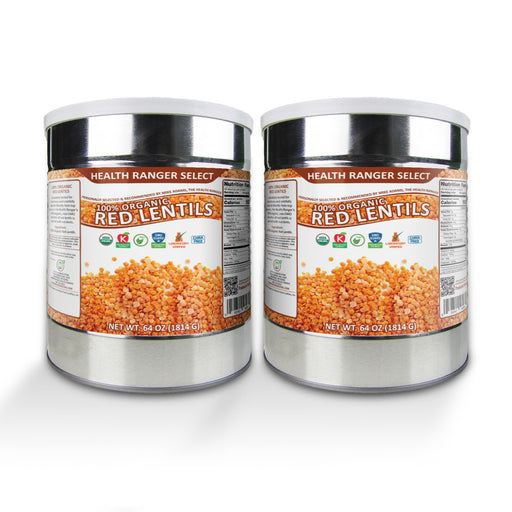 100% Organic Red Lentils (64oz, #10 Can) (2-Pack)