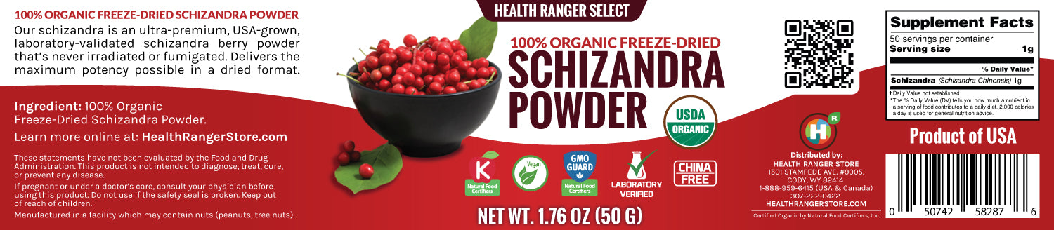 100% Organic Freeze Dried Schizandra Powder 1.76oz (50g) (3-Pack)