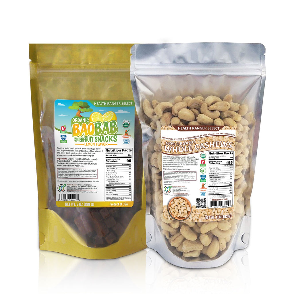Organic Baobab Superfruit Snacks (Lemon Flavor) + 100% Organic Cashews Combo Pack