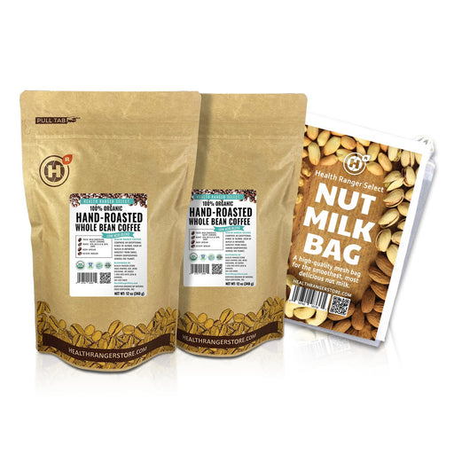 100% Organic Hand-Roasted Whole Bean Coffee (Low Acid Blend) 12oz, 340g (2-Pack) + Nut-Milk / Sprouting Bag