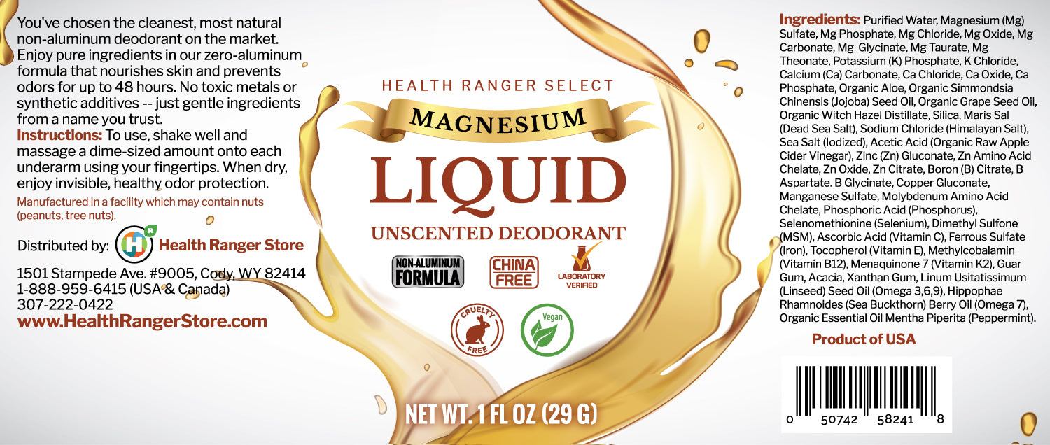 Magnesium Liquid Unscented Deodorant 1fl oz (29g) (6-Pack)