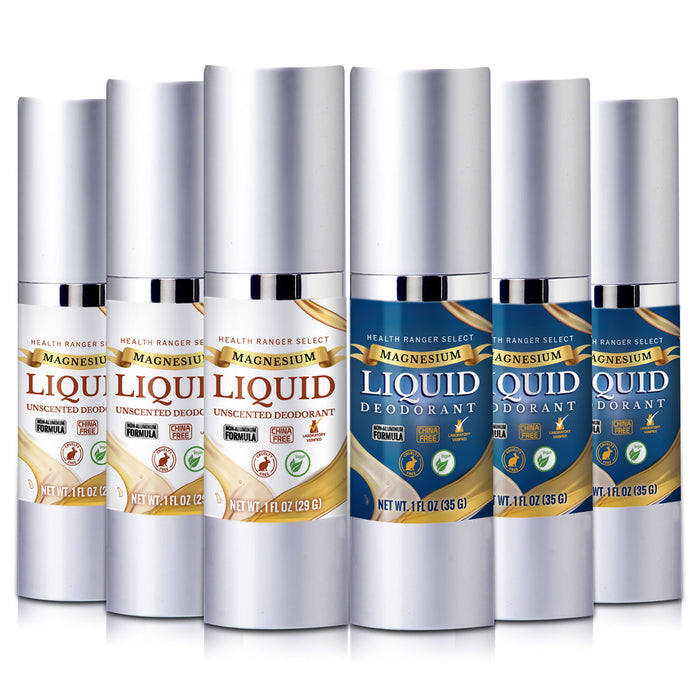Magnesium Liquid Deodorant (Scented and Unscented) Combo (6-Pack)