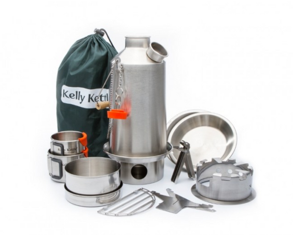 Camp Stove - Kelly Kettle:  Ultimate Stainless Steel Base Camp Kit - Holds 54 oz of Water