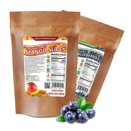 Organic Dried Mango Slices + Freeze Dried Organic Whole Blueberries Combo
