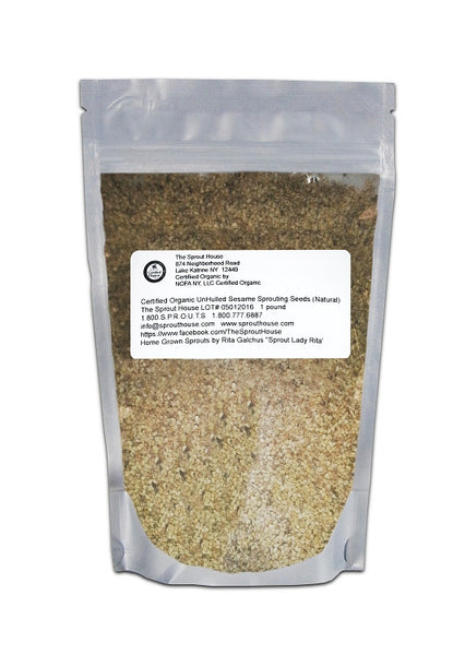 Sesame Un-Hulled Certified Organic Non-GMO Sprouting Seeds- 2Lb