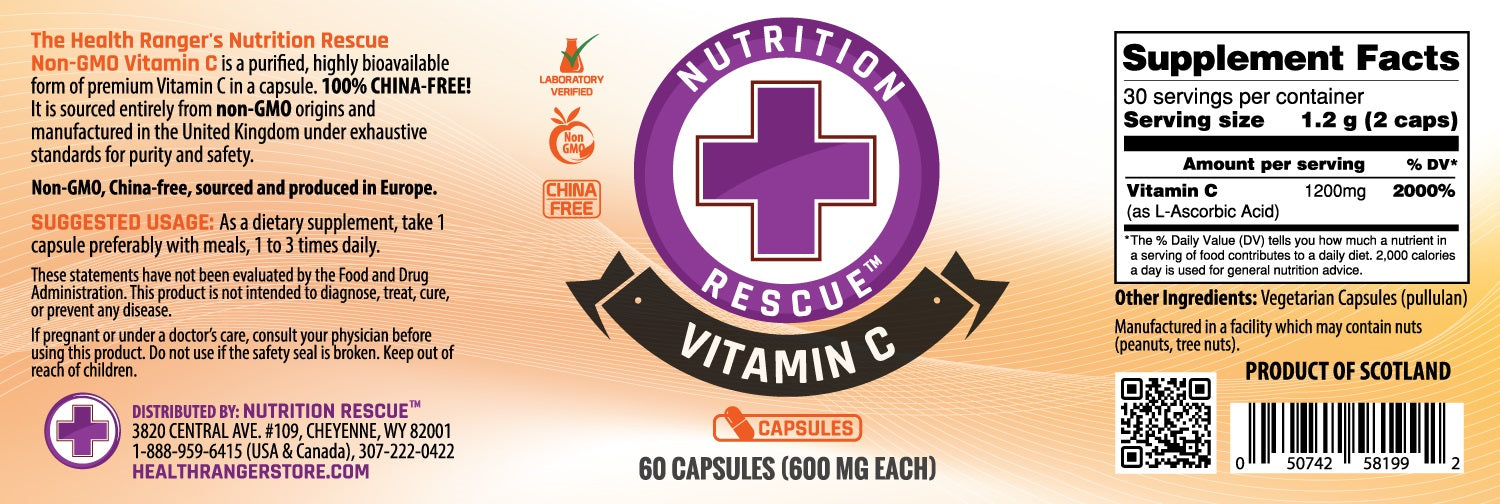 Health Ranger's Nutrition Rescue Non-GMO Vitamin C 60 caps (600mg each) (3-Pack)
