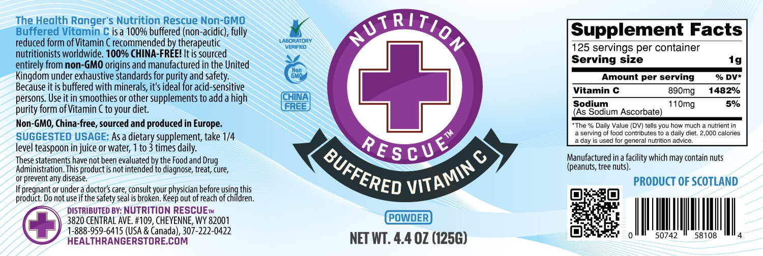 Health Ranger's Nutrition Rescue Non-GMO Buffered Vitamin C Powder (125 grams) (3-Pack)
