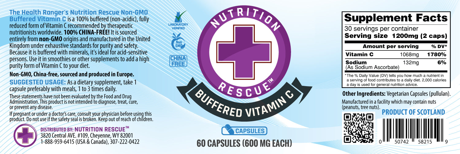Health Ranger's Nutrition Rescue Non-GMO Buffered Vitamin C Caps (600mg each) (6-Pack)
