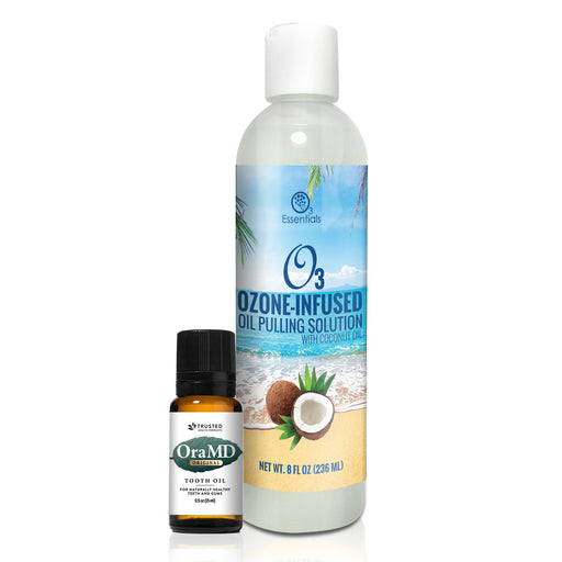 O3 Ozone-Infused Oil Pulling Solution 8oz (with Organic Coconut Oil and Organic Peppermint) + OraMD - The Mouth Doctor