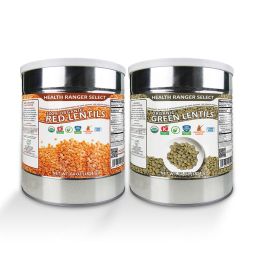 Organic Green Lentils and 100% Organic Red Lentils (64oz, #10 Can) Combo Pack
