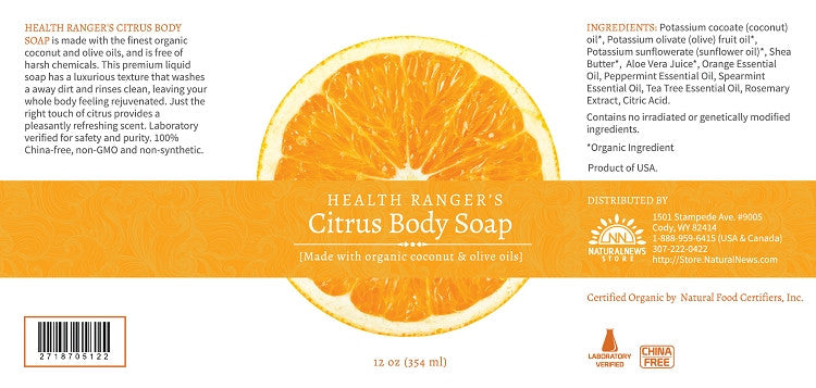 Health Ranger's Citrus Body Soap 12oz (3-Pack)
