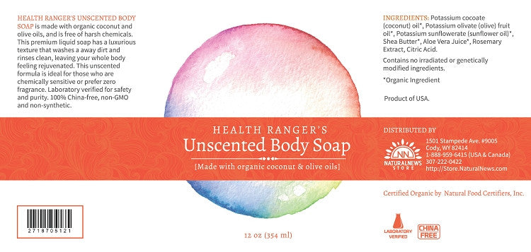 Health Ranger's Unscented Body Soap 12oz