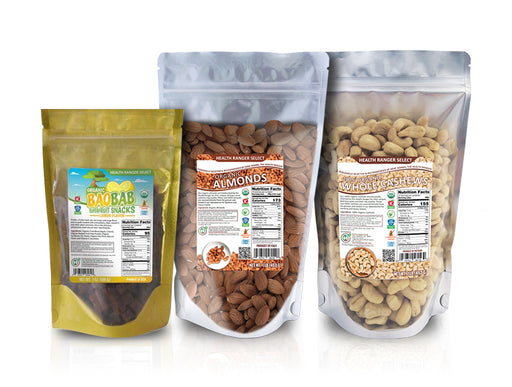 Organic Baobab Superfruit Snacks (Lemon Flavor) + 100% Organic Cashews + Organic Raw Almonds Combo Pack