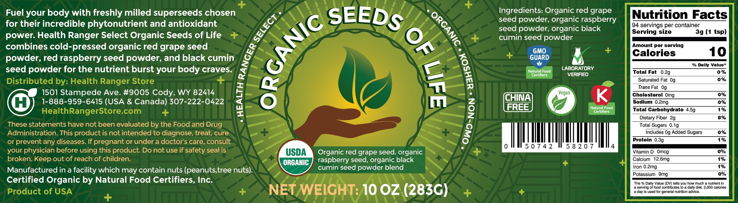 Organic Seeds of Life - Cold Pressed - 10oz (283g) (3-Pack)