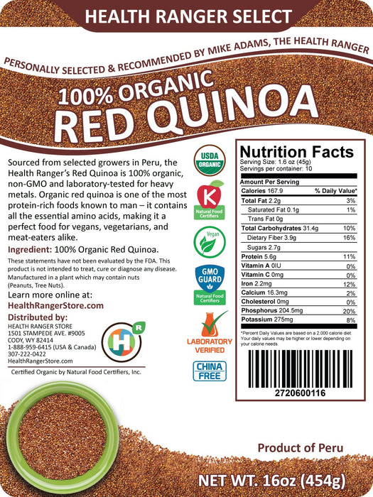 100% Organic Red Quinoa 16oz (454g)