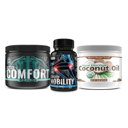 Ultimate Bone and Joint Support Combo Pack: OptiMSM Capsules for Joint Health 1000mg 60Caps  + Organic Extra Virgin coconut oil 14oz + Magnesium comfort 10oz