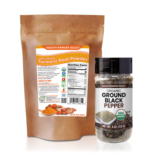 100% Organic Turmeric Root Powder (16oz) + Organic Ground Black Pepper 4oz (113g) Combo Pack