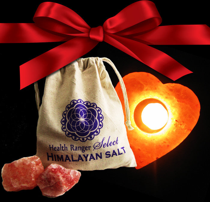 Valentines Pack F - Bath salt with cloth bag + Himalayan Crystal Salt Tea Light HEART shape