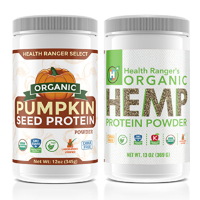 Ultimate Plant-Based Protein Combo Pack: Organic Hemp Protein Powder (13oz) + Organic Gluten-Free Vegan Plant-Based Pumpkin Seed Protein Powder (12oz)