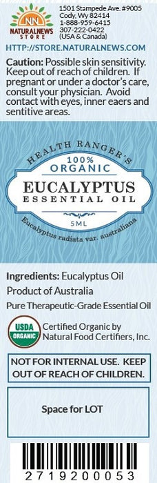 100% Organic Eucalyptus Essential Oil (5ml)