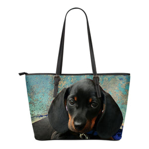 Dachshund Pup Eco-Leather Tote with Express Shipping