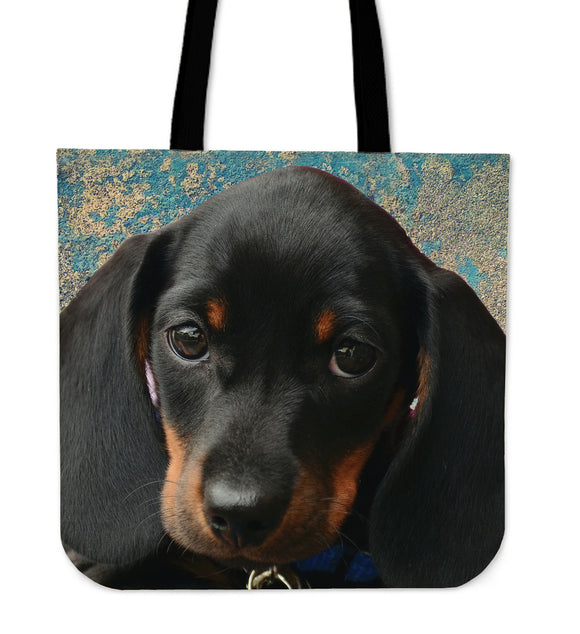 Dachshund Pup in Blue Cloth Tote Bag