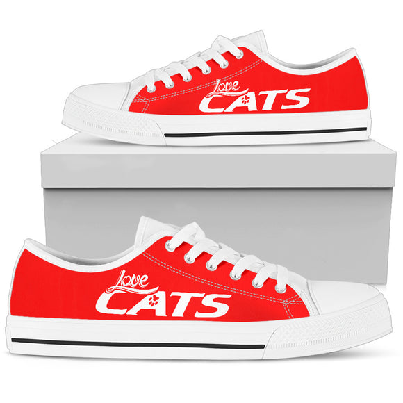 Love Cats Red Women's Low Top Shoe