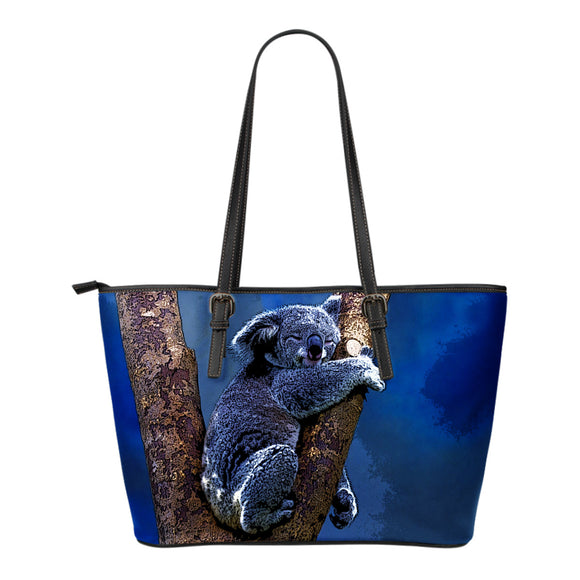 Blue Koala Leather Tote Bag