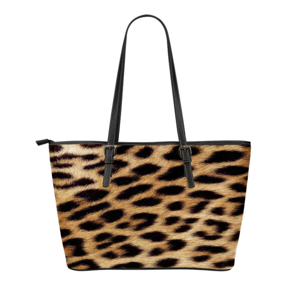 Leopard Fur Print - Leather Handbag