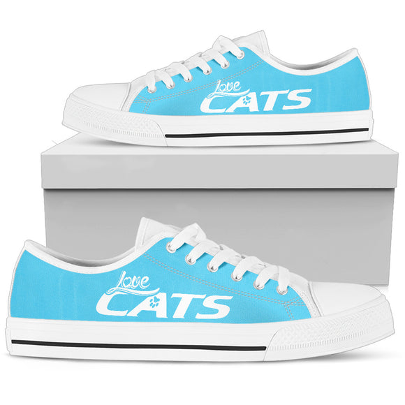 Love Cats Blue Women's Low Top Shoe