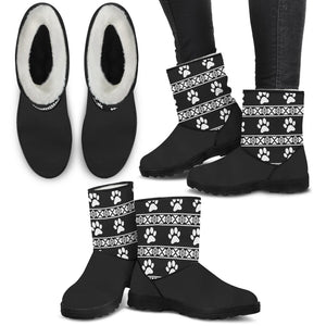 Cat Paw Faux Fur Boots with Express Shipping