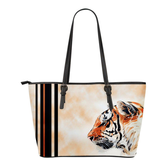 Watercolor Tiger Face Leather Tote Bag