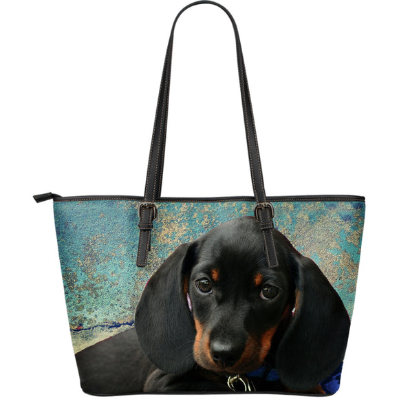 Dachshund Pup in Blue - Large Leather Tote Bag