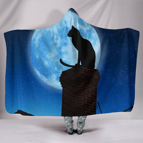 Cat and Moon Hooded Blanket