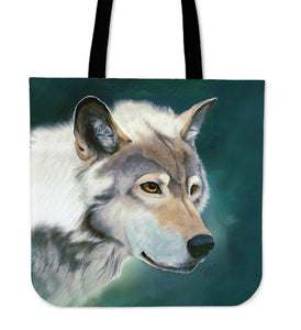 Wolf Face Cloth Tote Bag
