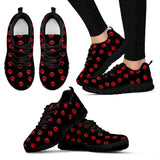 Red Paw Prints Mens and Womens Sneakers