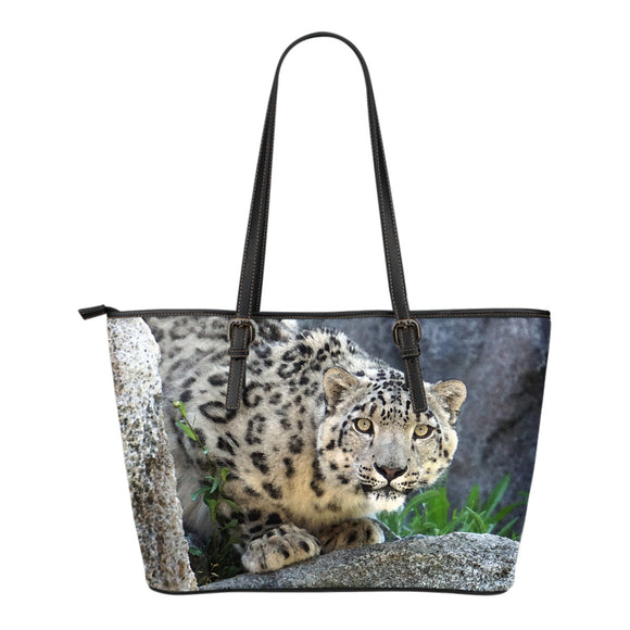 Snow Leopard Watercolor Leather Tote Bag