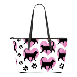 Black Cats & Hearts Leather Tote Bag