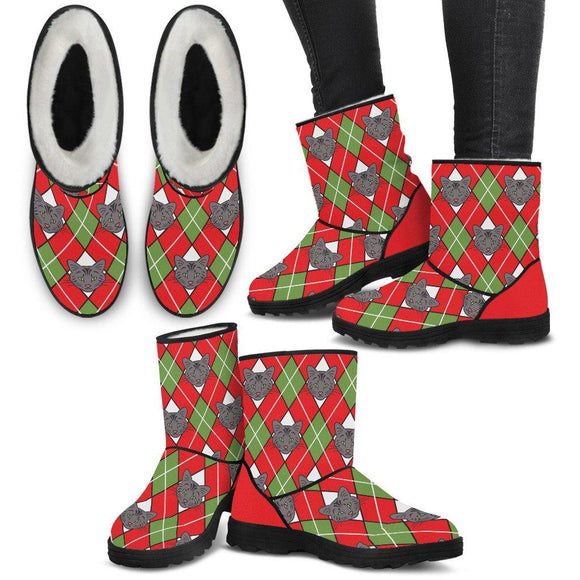 Christmas Argyle Cat Faux Fur Boots