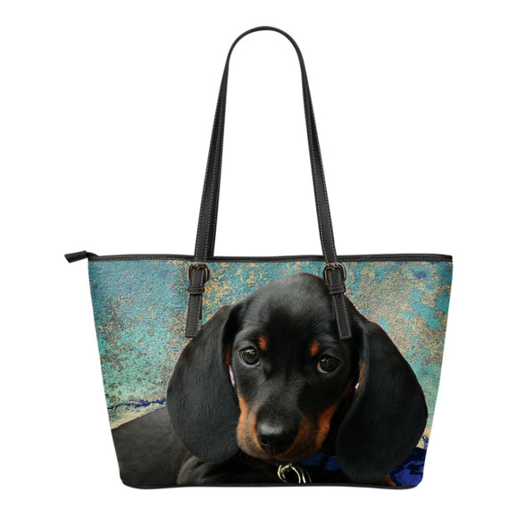 Dachshund Pup in Blue Leather Tote Bag