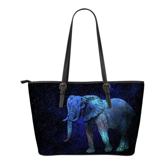 Blue Elephant Leather Tote Bag