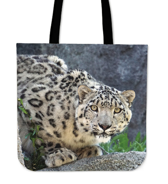 Snow Leopard Watercolor Cloth Tote Bag