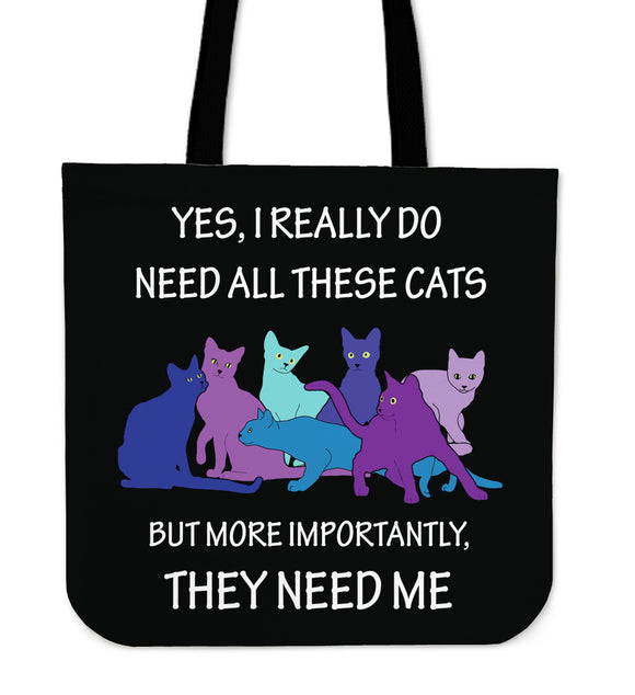 They Need Me - Blue Cats - Cloth Tote Bag