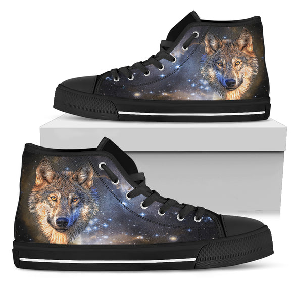 Galaxy Wolf High Top Shoes