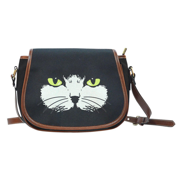 Gold-Eyed Cat Face Saddle Bag Purse