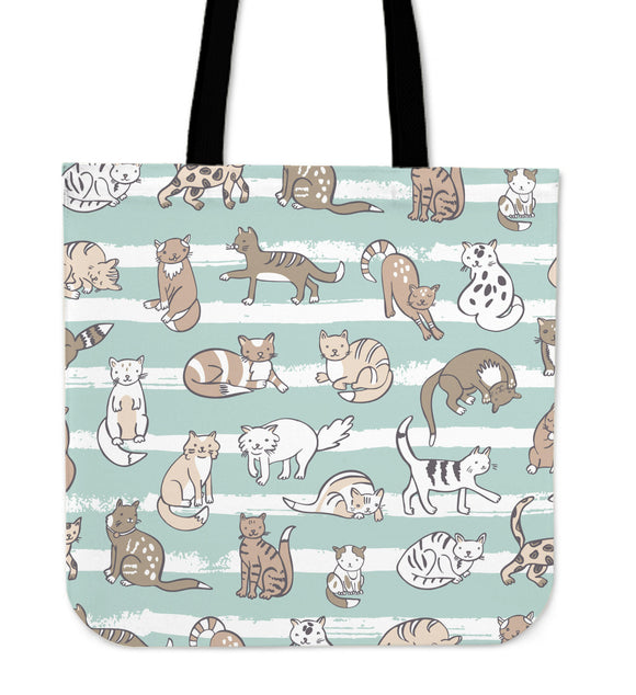 Green Stripes with Cats Cloth Tote Bag