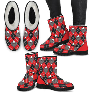 Argyle Cat Red and Black Faux Fur Boots