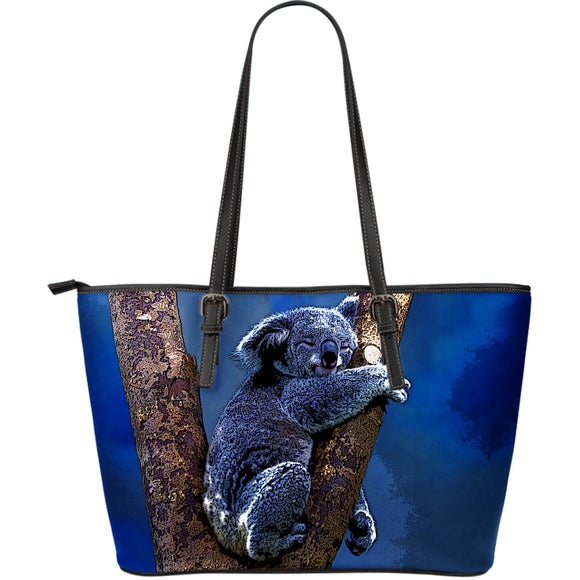 Blue Koala Large Leather Tote Bag
