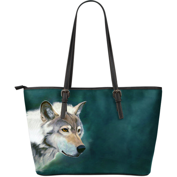 Wolf Face Leather Tote Bag - Large