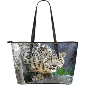 Snow Leopard Large Leather Tote Bag